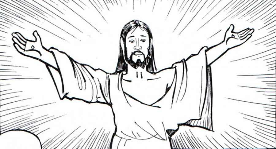 Dibujos para colorear y aprender sobre la vida de Jesús en blanco y ...