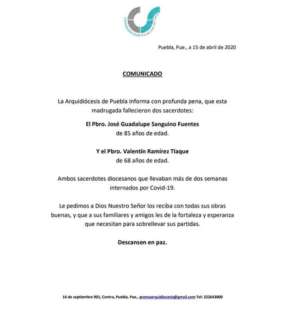 arquidiócesis de Puebla de los Ángeles sacerdotes fallecidos