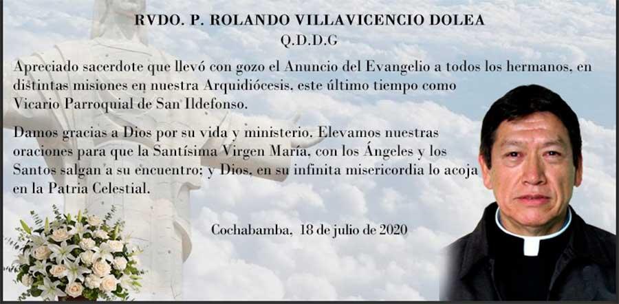 Fallece Padre Rolando V